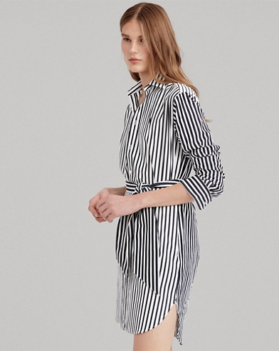 [BEST] 폴로 랄프로렌 우먼 셔츠드레스 (블랙 스트라이프) Polo Ralph Lauren Striped Cotton Shirtdress,875 Black Multi Stripes