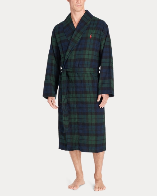 Black Watch Flannel Robe | Sleepwear & Robes Underwear & Loungewear ...