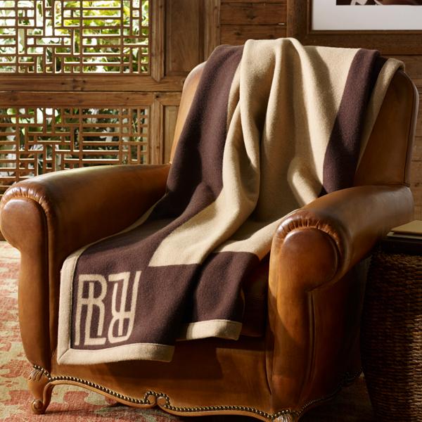 Ralph Lauren Montclair Wool Throw Blanket Chocolate/Camel 54