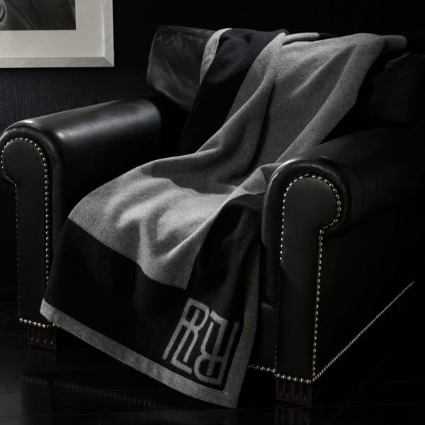 Ralph Lauren Montclair Wool Throw Blanket Black/Grey 54