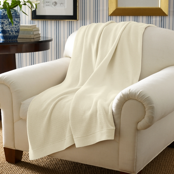 Ralph Lauren Seed-Stitched Throw Blanket Regatta Cream 60