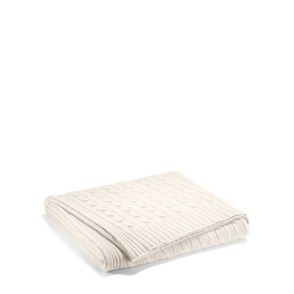 Ralph Lauren Cable Cashmere Throw Blanket Cream 60