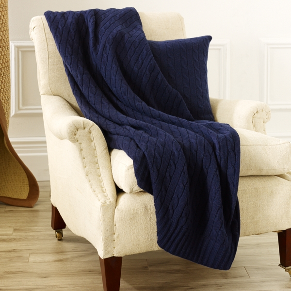 Ralph Lauren Cable Cashmere Throw Blanket Polo Navy 60