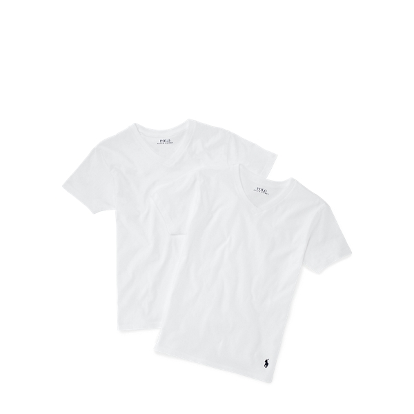 White Cotton V Neck 2 Pack by Ralph Lauren