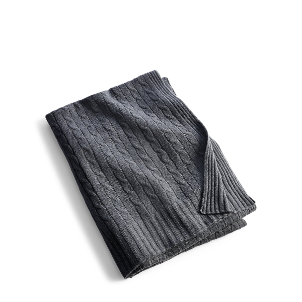 Ralph Lauren Cable Cashmere Throw Blanket Modern Charcoal 60X60