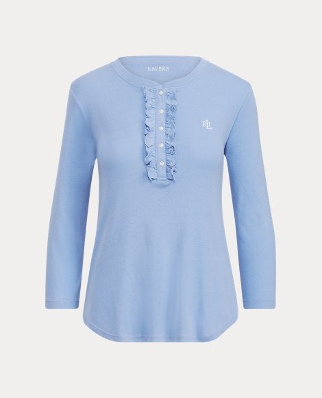 Ruffled-Trim Henley