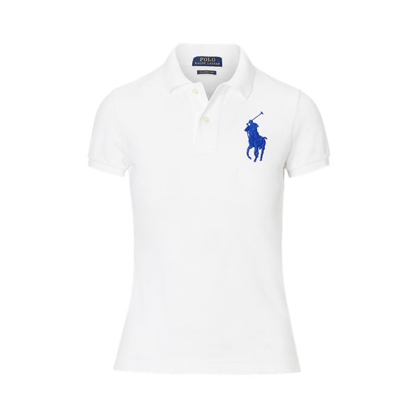 Ralph Lauren Skinny Fit Big Pony Polo Shirt White Xs