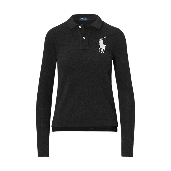 Ralph Lauren Skinny Fit Big Pony Polo Polo Black Xs