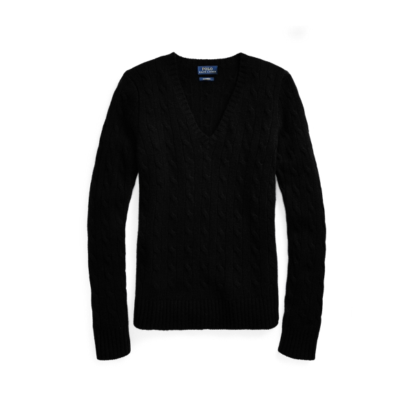 Ralph Lauren Cable Cashmere V-Neck Sweater Black Xs