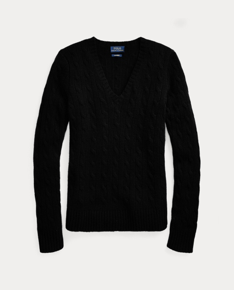 Cable Cashmere V-Neck Sweater