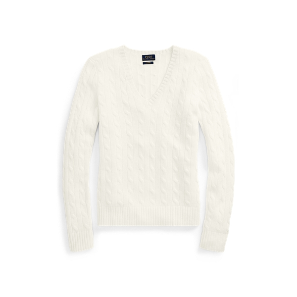 Ralph Lauren Cable Cashmere V-Neck Sweater Cream L