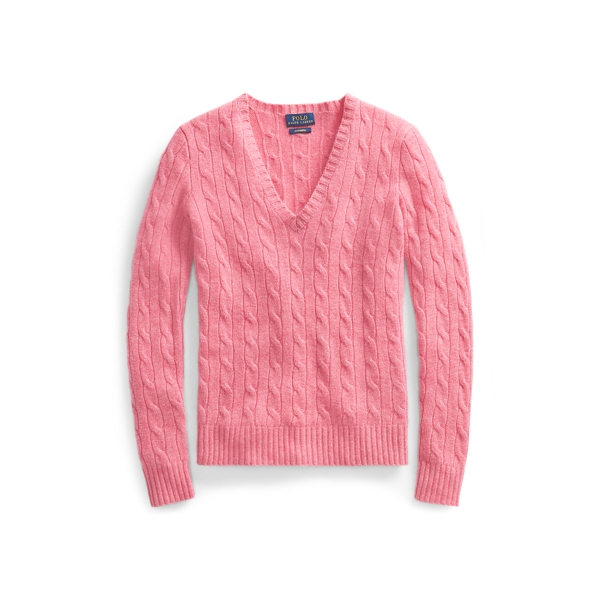 Ralph Lauren Cable Cashmere V-Neck Sweater Candy Pink Xs