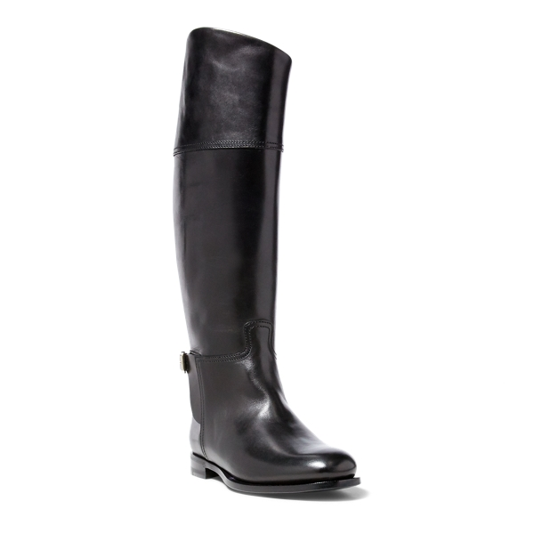 Ralph Lauren Sallen Polished Calfskin Boot Black 6.5