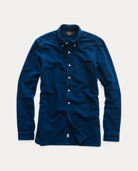 Indigo Cotton Oxford Shirt