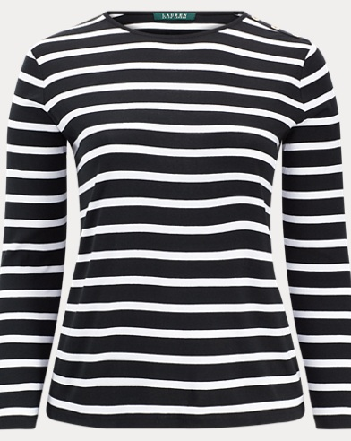 Striped Buttoned-Shoulder Top