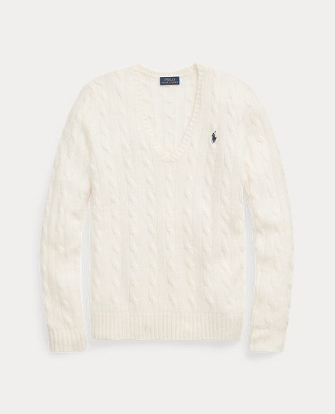 Cable-Knit Wool V-Neck Sweater