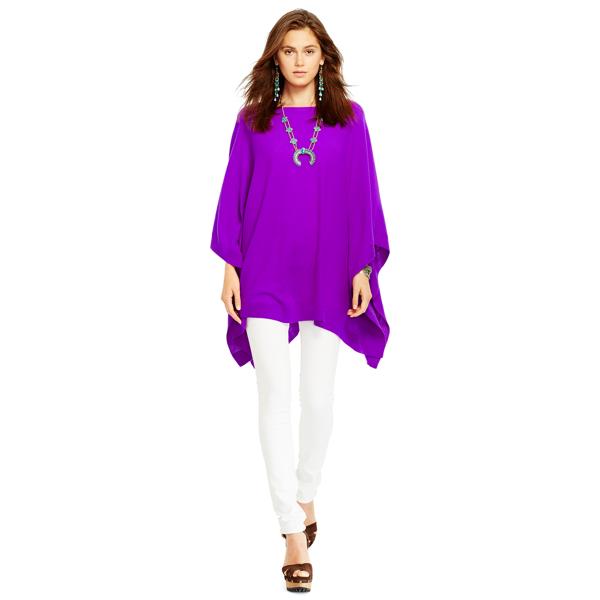 Ralph Lauren Cashmere Boatneck Poncho Ultra Purple M/L