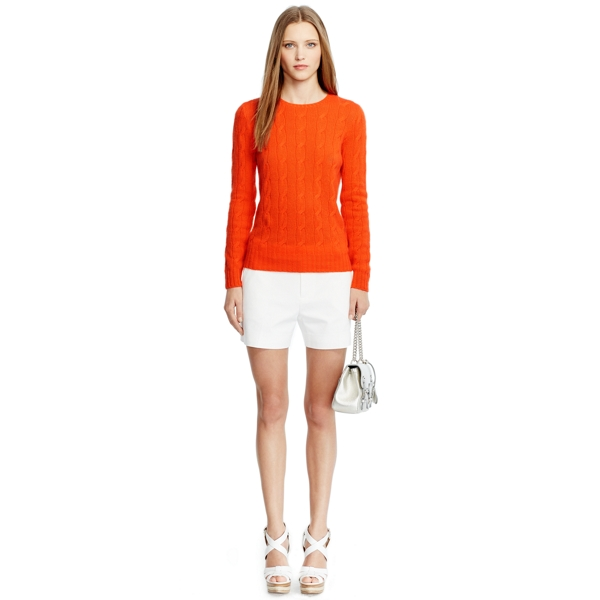 Ralph Lauren Cable-Knit Cashmere Sweater Mai Thai Orange M
