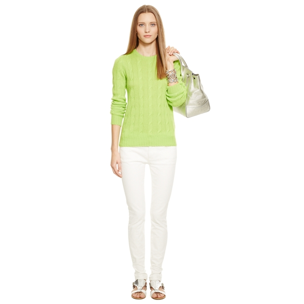 Ralph Lauren Cable-Knit Cashmere Sweater Bright Avocado L