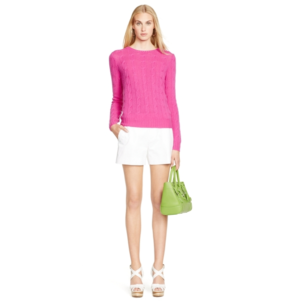Ralph Lauren Cable-Knit Cashmere Sweater Hibiscus L