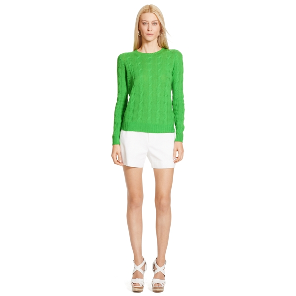 Ralph Lauren Cable-Knit Cashmere Sweater Kiwi L