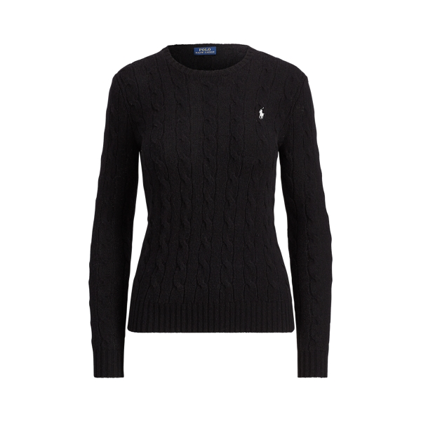 Ralph Lauren Cable-Knit Crewneck Sweater Polo Black Xs
