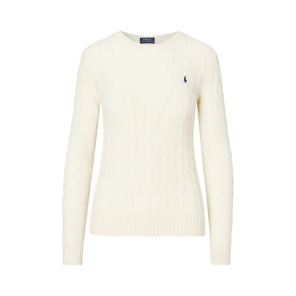 Ralph Lauren Cable-Knit Crewneck Sweater Cream Xs