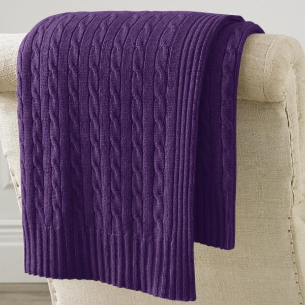 Ralph Lauren Cable Cashmere Throw Blanket Royal Purple 60