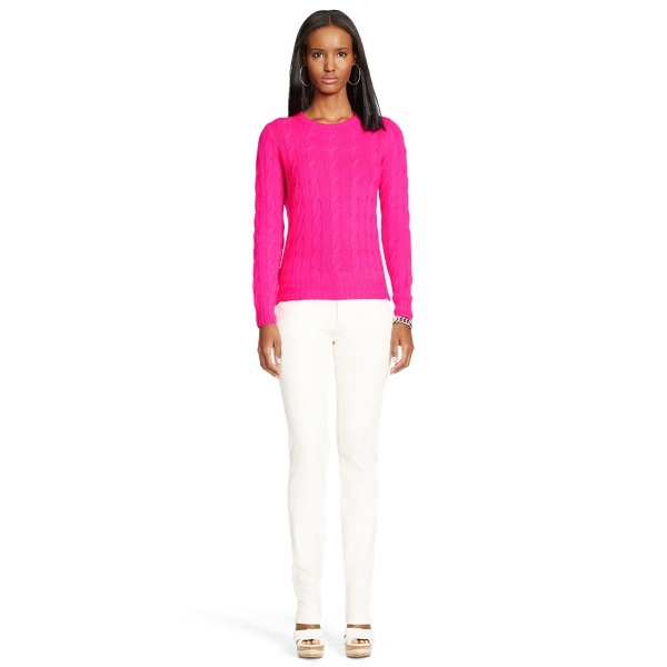 Ralph Lauren Cable-Knit Cashmere Sweater Lux Bright Pink S