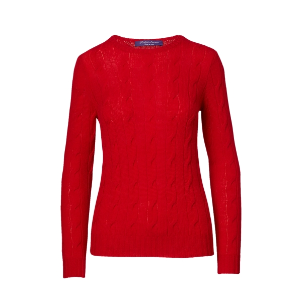 Ralph Lauren Cable-Knit Cashmere Sweater Lux Red M