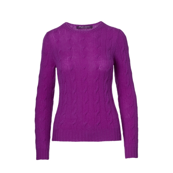 Ralph Lauren Cable-Knit Cashmere Sweater Lux Bright Purple S