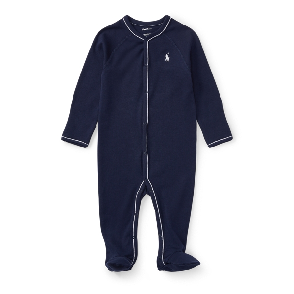 Ralph Lauren Cotton Jersey Footed Coverall French Navy Newborn