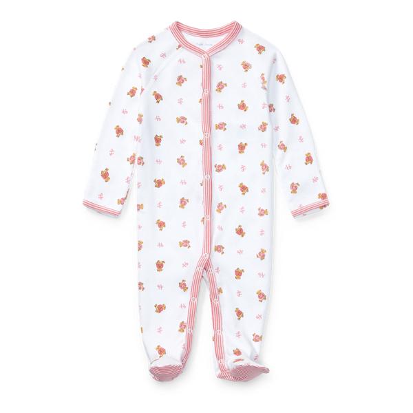Ralph Lauren Polo Bear Cotton Coverall White Multi Newborn