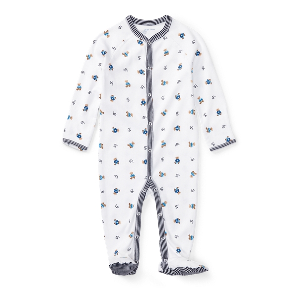 Ralph Lauren Polo Bear Cotton Coverall French Navy Newborn