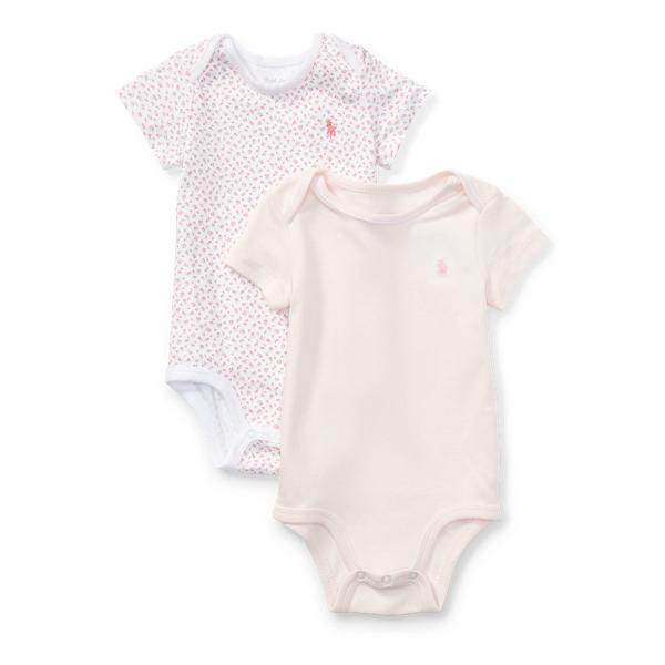 Ralph Lauren Cotton Bodysuit 2 - Piece Set Delicate Pink Newborn