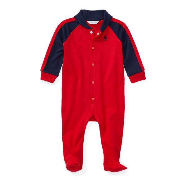 Ralph Lauren Cotton Shawl - Collar Coverall Rl Red Newborn