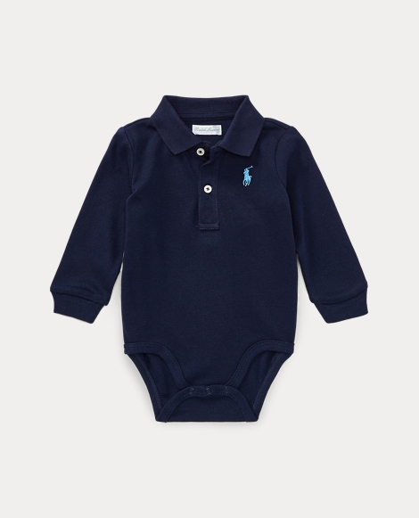 Cotton Jersey Polo Bodysuit