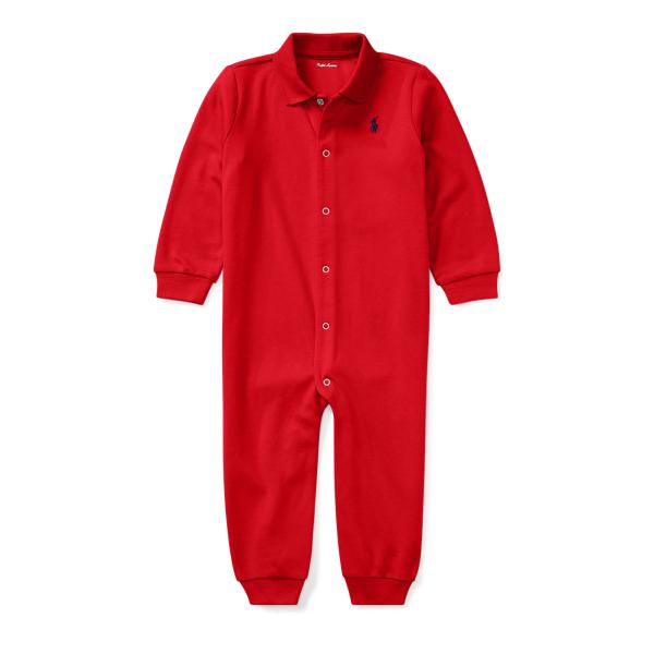 Ralph Lauren Cotton Polo Coverall Rl Red Newborn