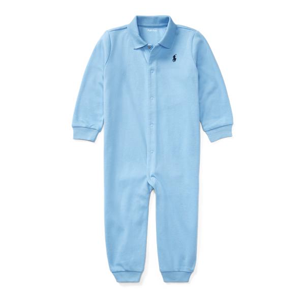 Ralph Lauren Cotton Polo Coverall Suffield Blue Newborn