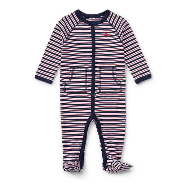 Ralph Lauren Striped Cotton Coverall French Navy Multi Newborn