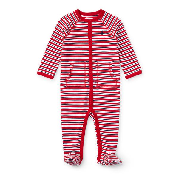 Ralph Lauren Striped Cotton Coverall Rl Red Multi Newborn