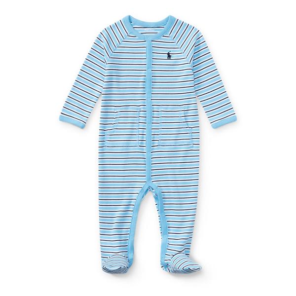 Ralph Lauren Striped Cotton Coverall Suffield Blue Multi Newborn