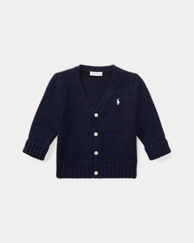 Combed Cotton V-Neck Cardigan
