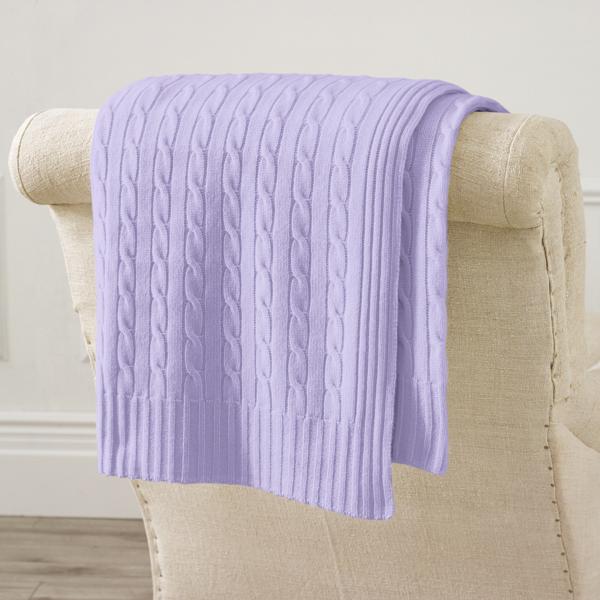 Ralph Lauren Cable Cashmere Throw Blanket Lavender 60