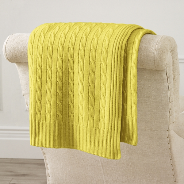 Ralph Lauren Cable Cashmere Throw Blanket Canary Yellow 60X60