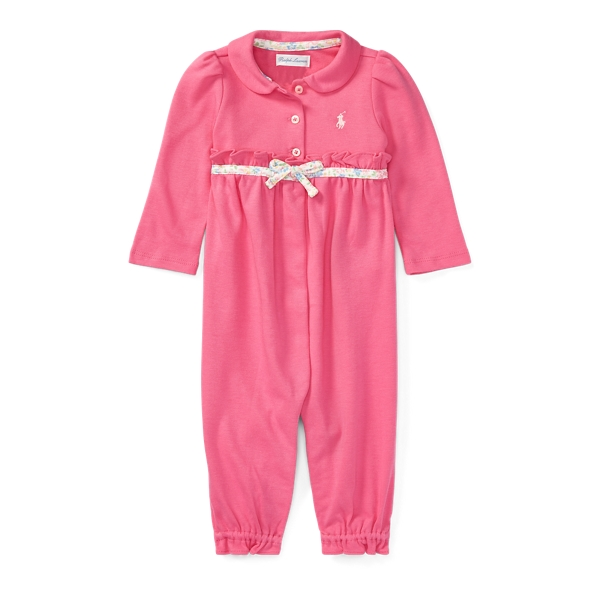 Ralph Lauren Ruffled Cotton Coverall Bermuda Pink 3M