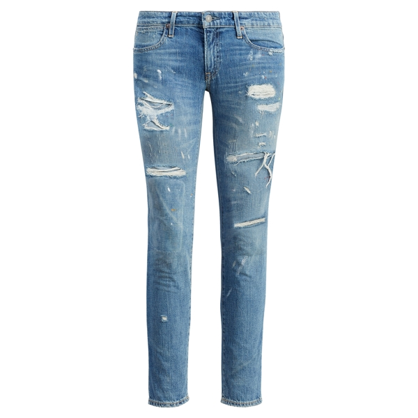 Ralph Lauren Astor Slim Boyfriend Jean Distressed Light Indigo 26