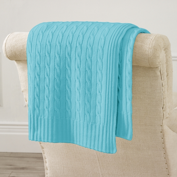 Ralph Lauren Cable Cashmere Throw Blanket Turquoise 60