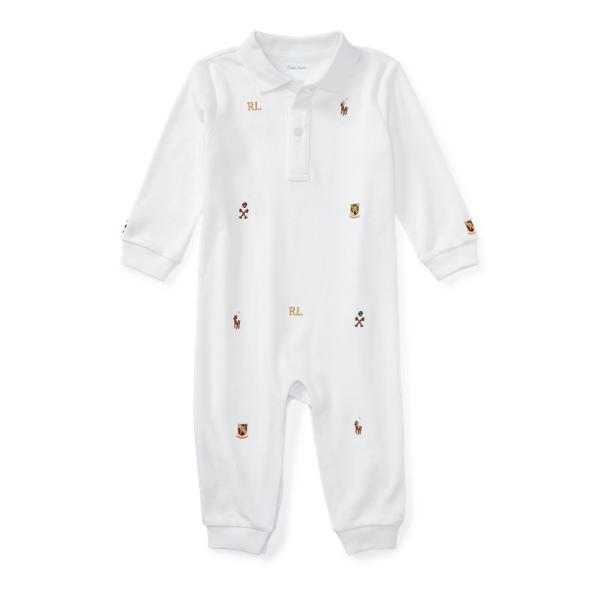 Ralph Lauren Embroidered Cotton Coverall White Newborn
