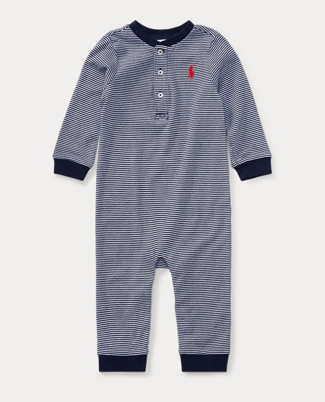 Striped Cotton Henley Coverall